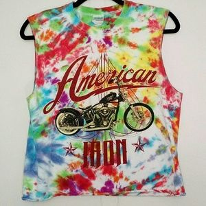 Rainbow Tie Dye American Iron Sleeveless Crop Top